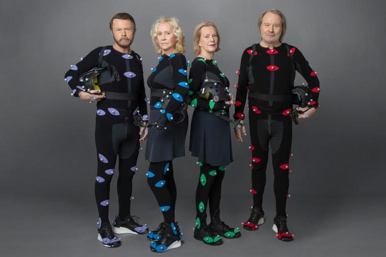"""Le groupe ABBA dans leurs costumes de """"motion capture"""""""