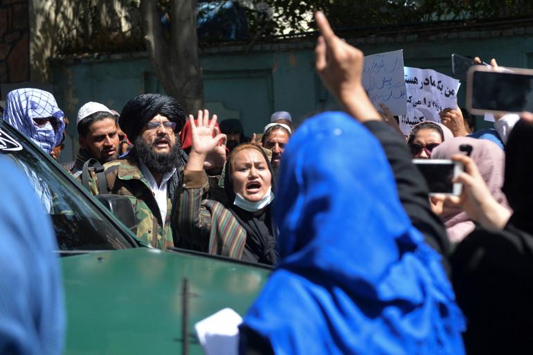 Des manifestantes anti-talibans, anti-Pakistan, le 7 septembre 2021, à Kaboul, en Afghanistan