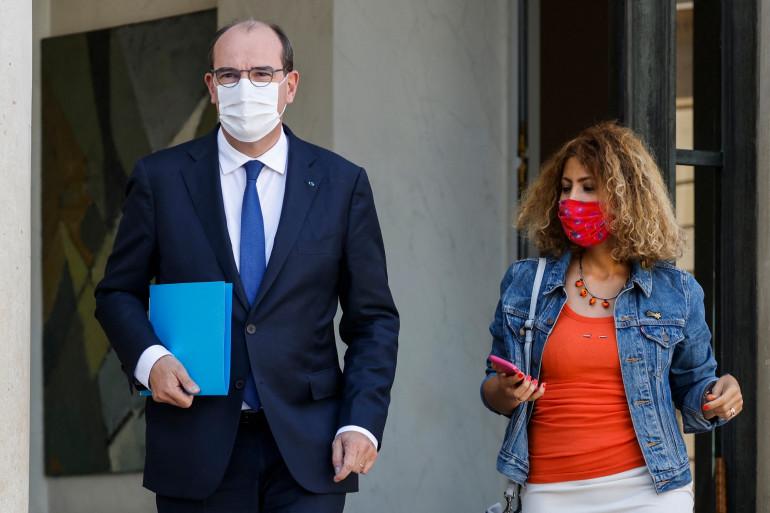 Le Premier ministre Jean Castex et sa conseillère Mayada Boulos, à l'issue du séminaire organisé à l'Élysée