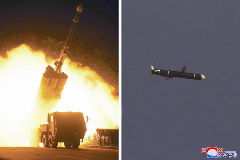 Photographies publiées par l'agence de presse centrale coréenne officielle de Corée du Nord (KCNA), le 13 septembre 2021.