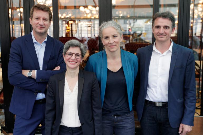Yannick Jadot, Sandrine Rousseau, Delphine Batho et Éric Piolle, quatre des candidats à la primaire écologiste. Absent de la photo, Jean-Marc Governatori y participe également.