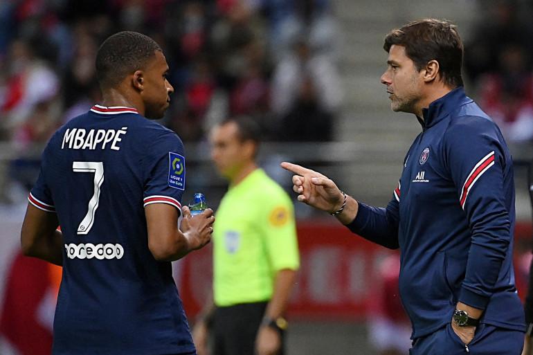 Kylian Mbappé et Mauricio Pochettino à Reims le 29 août 2021
