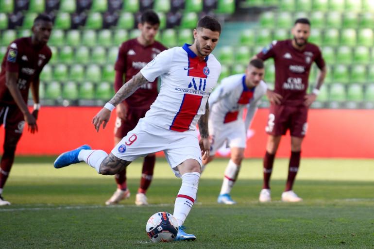 Mauro Icardi avec le PSG à Metz le 24 avril 2021