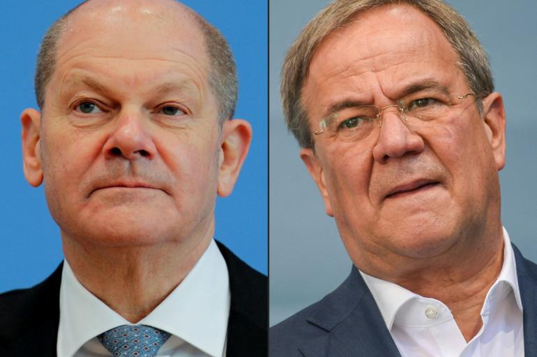 Le candidat social-démocrate (SPD) du chancelier, Olaf Scholz, et le chef de file de la CDU Armin Laschet.
