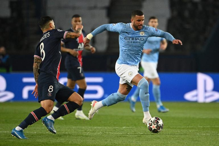 Kyle Walker avec Manchester City face au PSG de Leandro Paredes le 28 avril 2021 au Parc des Princes