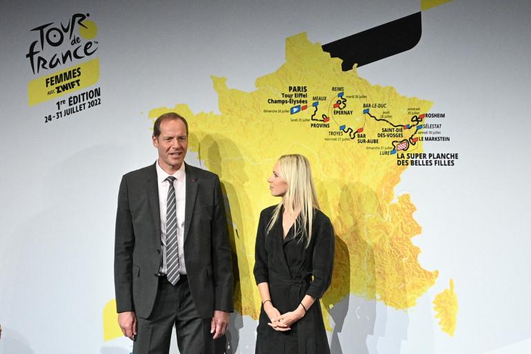 Christian Prudhomme et Marion Rousse à Paris le 14 octobre 2021