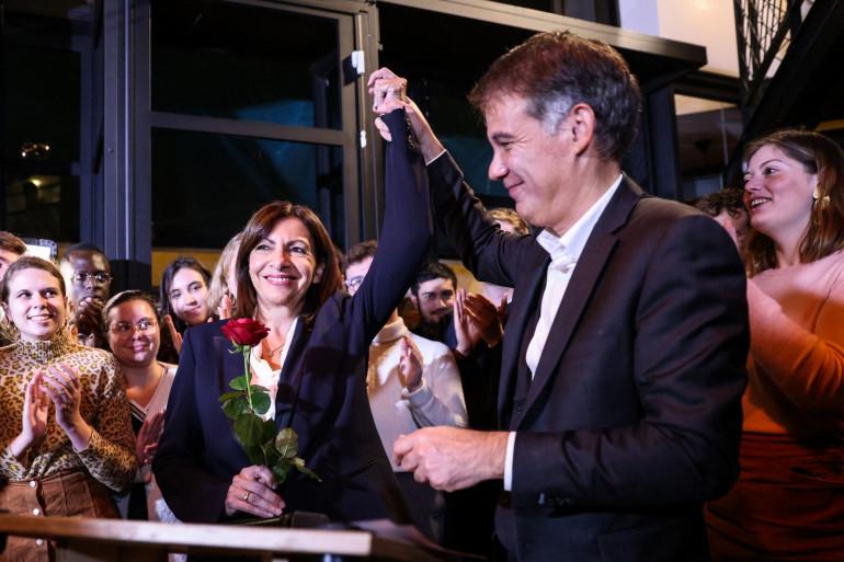 Anne Hidalgo, aux côtés d'Olivier Faure, le 14 octobre