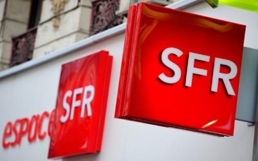 Le logo SFR devant une boutique de Lille (archives)