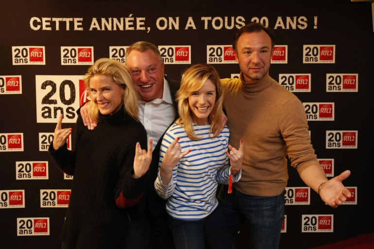 Stéphanie Renouvin, Christophe Nicolas, Louise Ekland et Alexandre Devoise à la soirée des 20 ans de RTL2