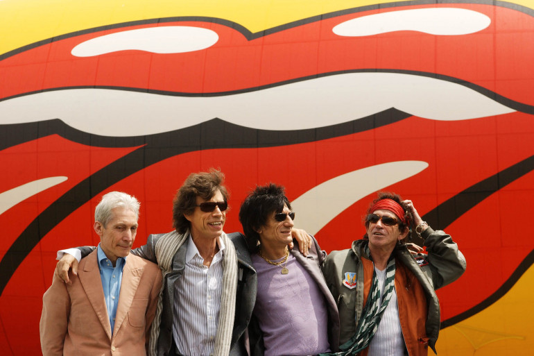 Les Rolling Stones en 2002. De gauche à droite : Charlie Watts, Mick Jagger, Ron Woods et Keith Richards