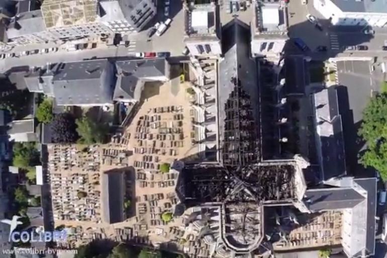 La basilique St-Donatien à Nantes vue par un drône