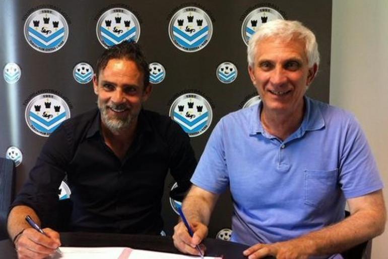 Marco Simone, nouvel entraîneur du TFC, et le président du club, Jean-Marc Ettori