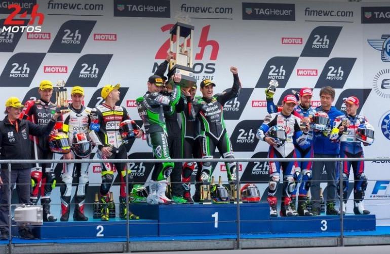 Podium des 24 Heures Motos 2016. Crédit Photo : 24h-moto.com