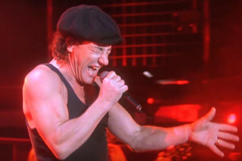 AC/DC lors de son concert à Donington en 1991