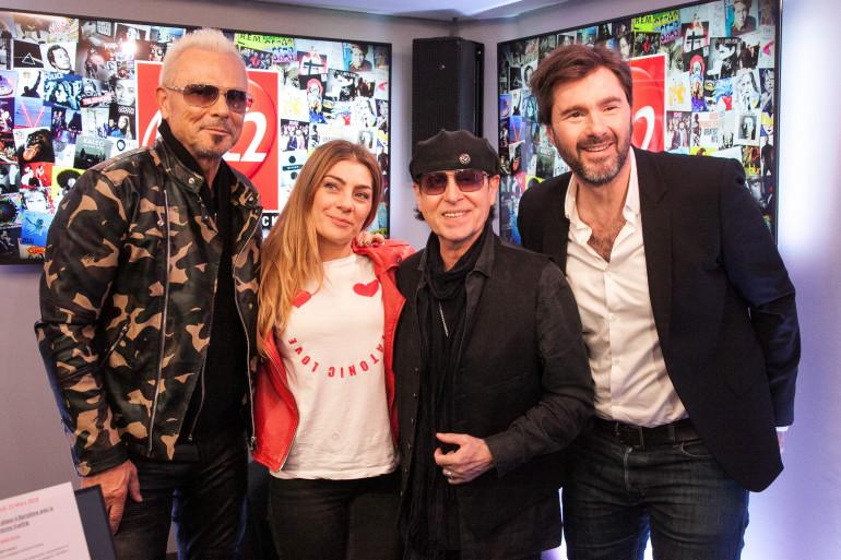 Klaus Meine et Rudolf Schenker de Scorpions en compagnie de Mathilde Courjeau et Eric Jean Jean du #DriveRTL2