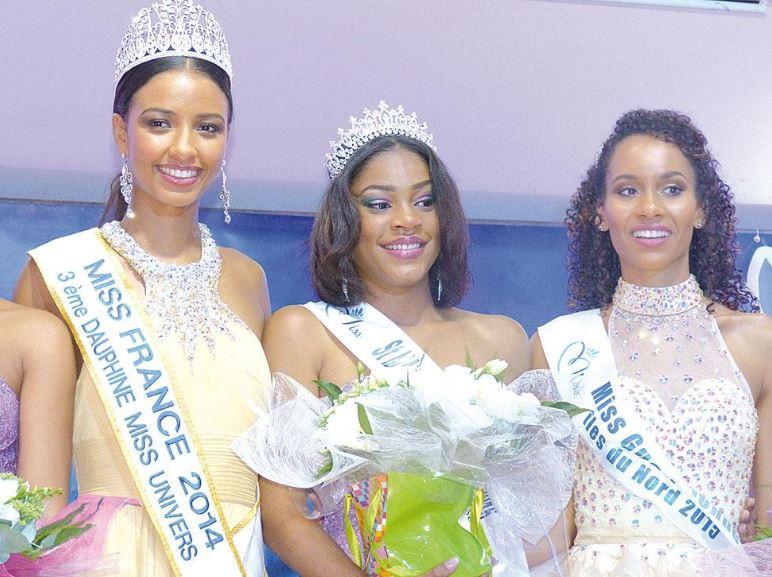Annaëlle Hyppolite, Miss Saint-Martin - Saint-Barthélémy 2016, entourée de ses dauphines