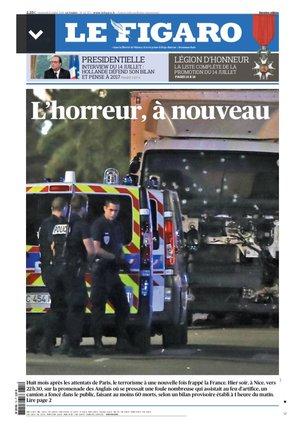 """""""L'horreur à nouveau"""" en Une du """"Figaro"""""""