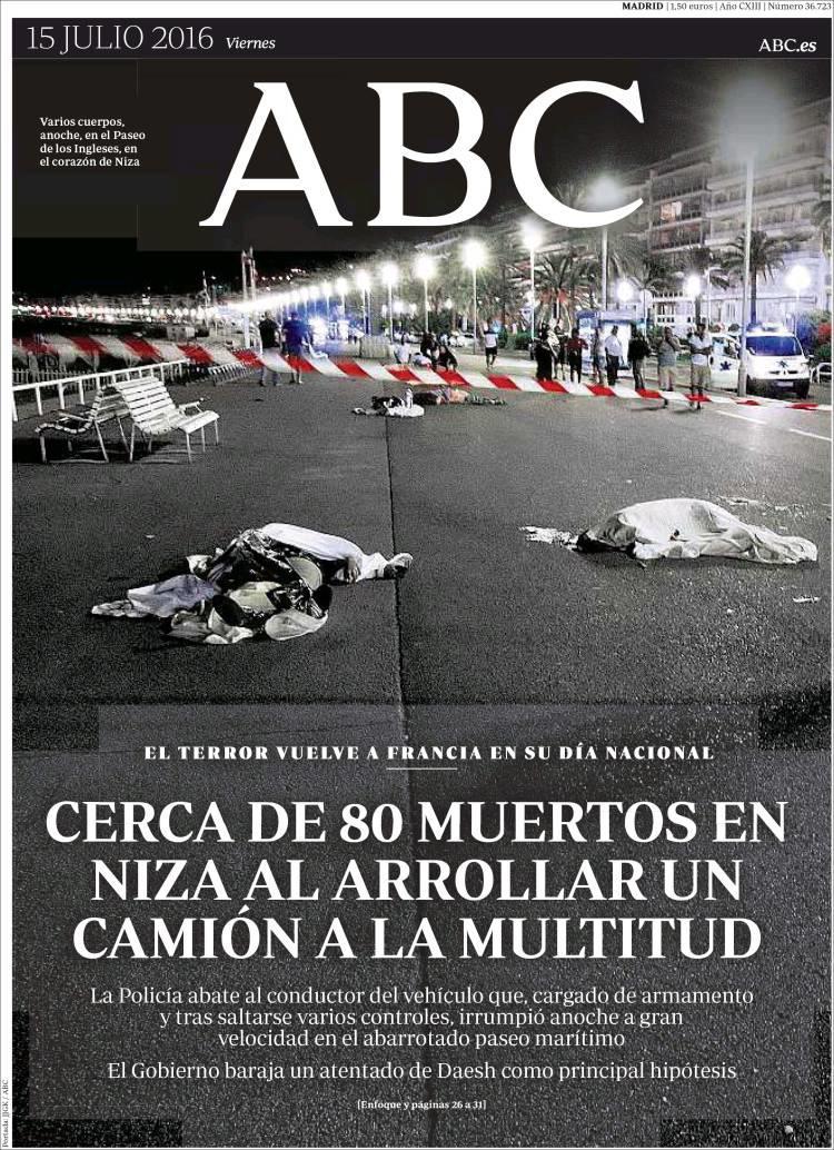 """""""La terreur revient en France le jour de la fête nationale"""", titre le journal espagnol """"ABC"""""""