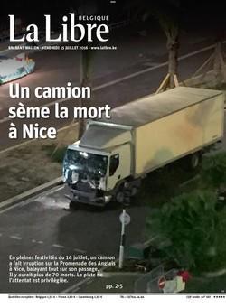 """""""Un camion sème la mort à Nice"""" en Une du quotidien belge """"La Libre"""""""
