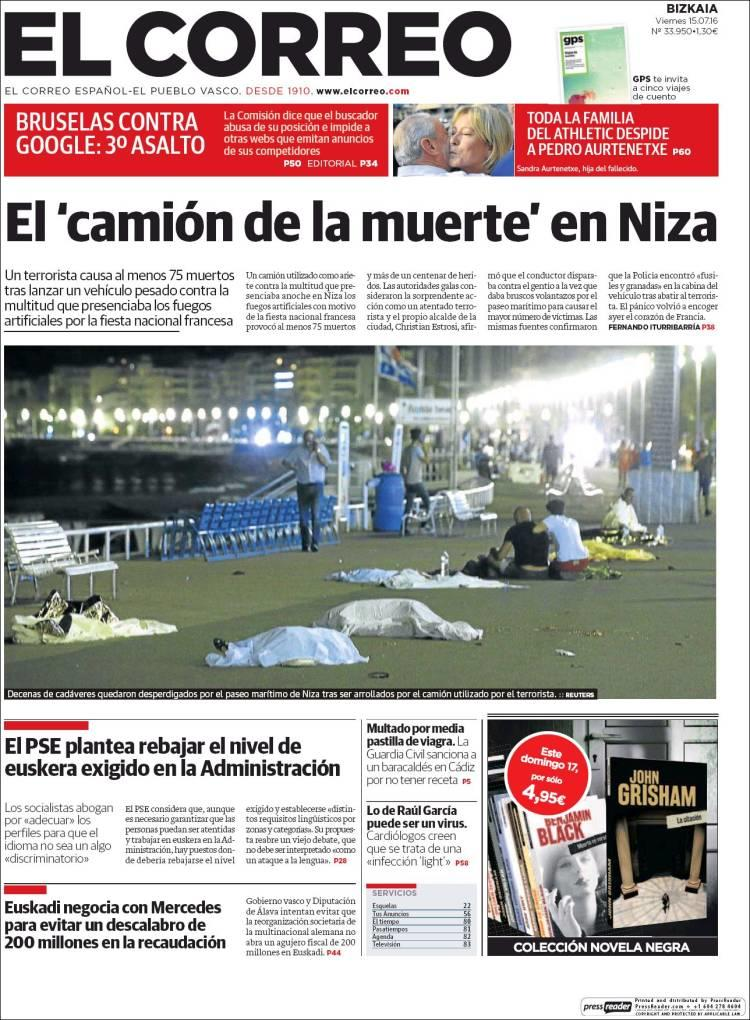 """""""Le camion de la mort à Nice"""", titre """"El Correo"""" à Bilbao"""
