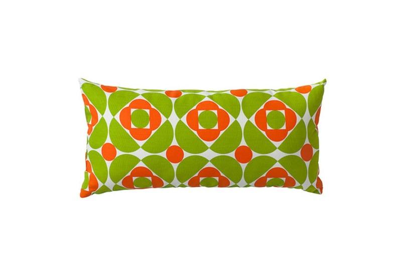 Coussin blanc, vert et orange, Skavgrä, Ikea