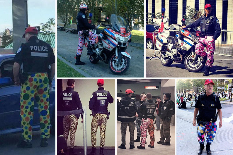 À Montréal, les policiers protestent grâce à des pantalons ridicules