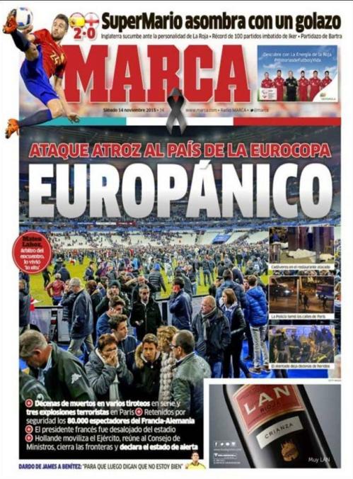 """Le quotidien sportif Marca titre """"Europanique"""", rappelant la prochaine échéance de l'Euro 2016 organisé en France"""