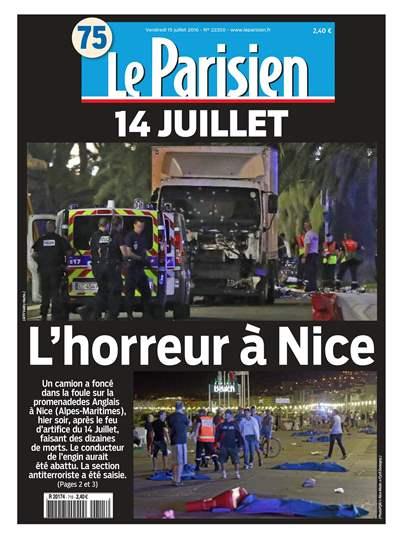 """""""L'horreur à Nice"""" en Une du """"Parisien"""""""