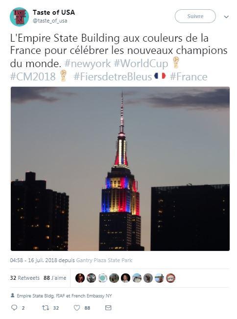 L'Empire State Building aux couleurs de la France le 16 juillet 2018