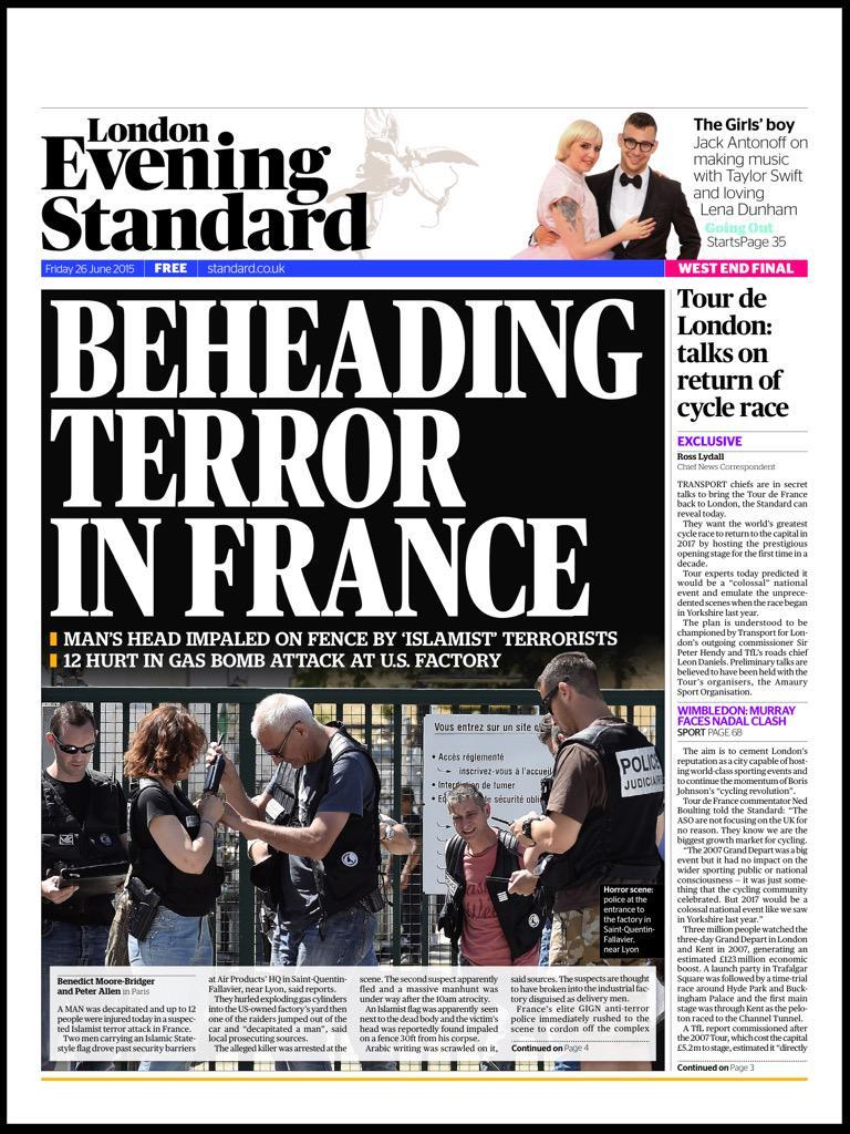 """""""The Evening Standard"""" est le seul journal anglais à faire sa une sur l'attentat en Isère"""