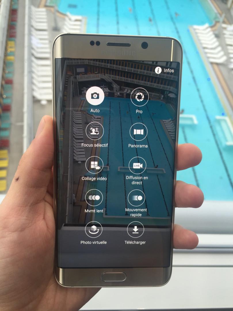 Les options du mode photo du Galaxy S6 Edge+
