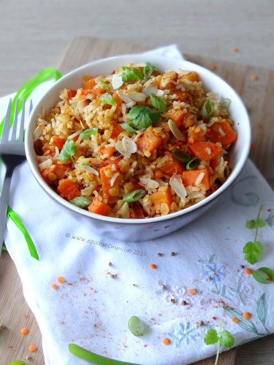 Salade chaude de riz, lentilles et carottes aux épices