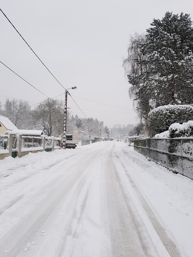 Haramont (Aisne) sous la neige le 7 février 2018.