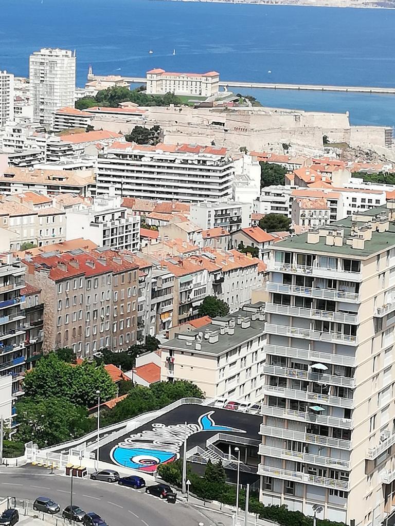 L'immense graff fait 32 mètres sur 14 avec le plus beau panorama de Marseille.