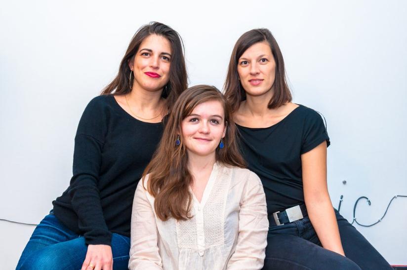 Judith Aquien, Héloïse Nio et Jennifer Leblond, co-fondatrice de l'école Thot