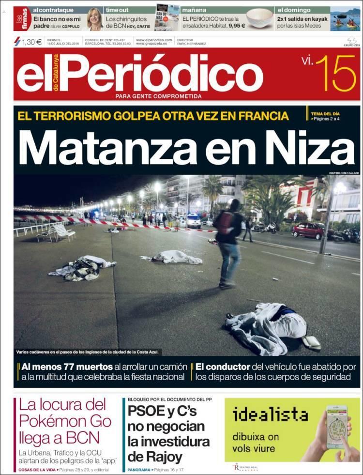 """""""Tuerie à Nice"""", titre le journal barcelonnais """"El Periodico"""""""