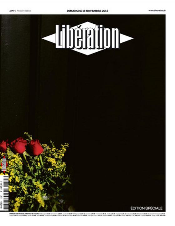 Seul un bouquet de rose colore la Une de Libération
