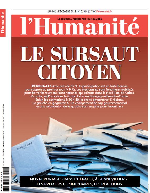 """L'Humanité parle d'un """"sursaut citoyen"""" face au Front national"""