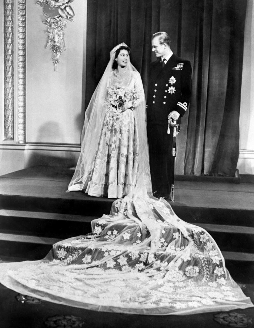 Elizabeth et Philip le jour de leur mariage