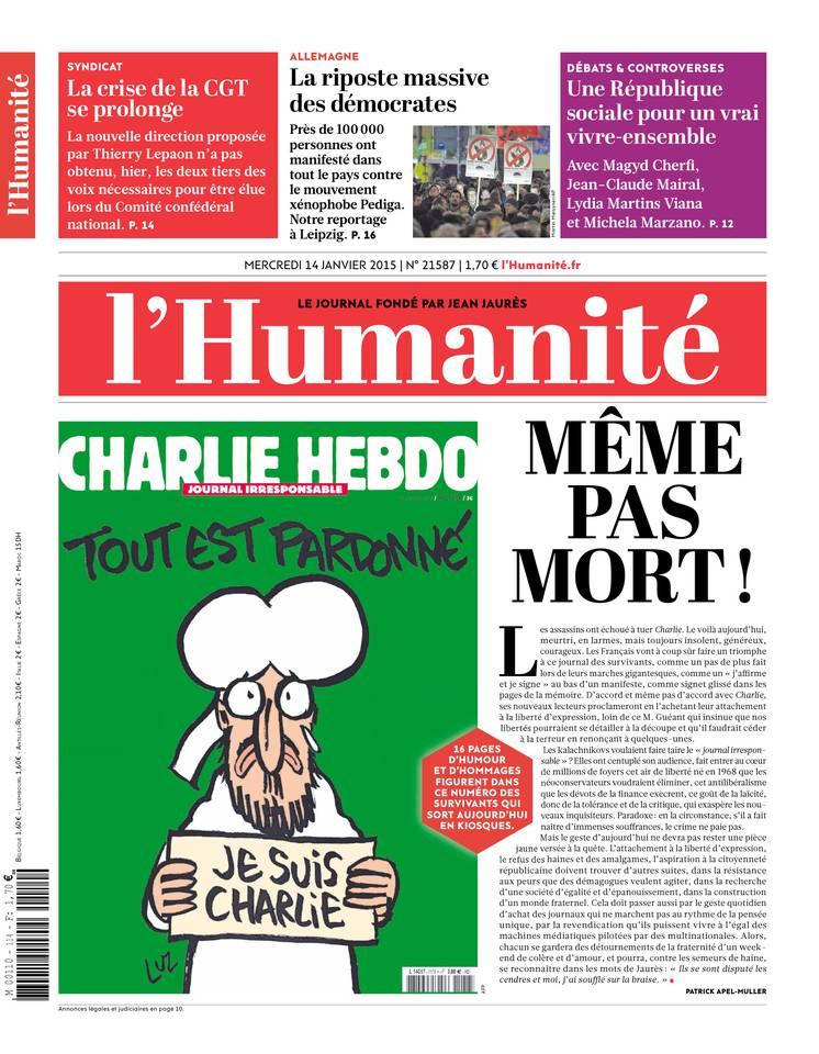 """""""L'Humanité"""" propose 16 pages """"d'humour et d'hommages"""" à l'hebdomadaire satirique"""