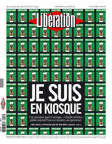 """""""Libération"""" reproduit la une de Charlie, en rappelant qu'il est en kiosque"""