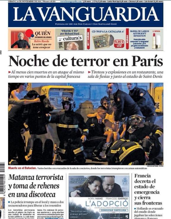 """En Espagne, la Vanguardia parle d'une """"nuit de terreur dans Paris"""""""