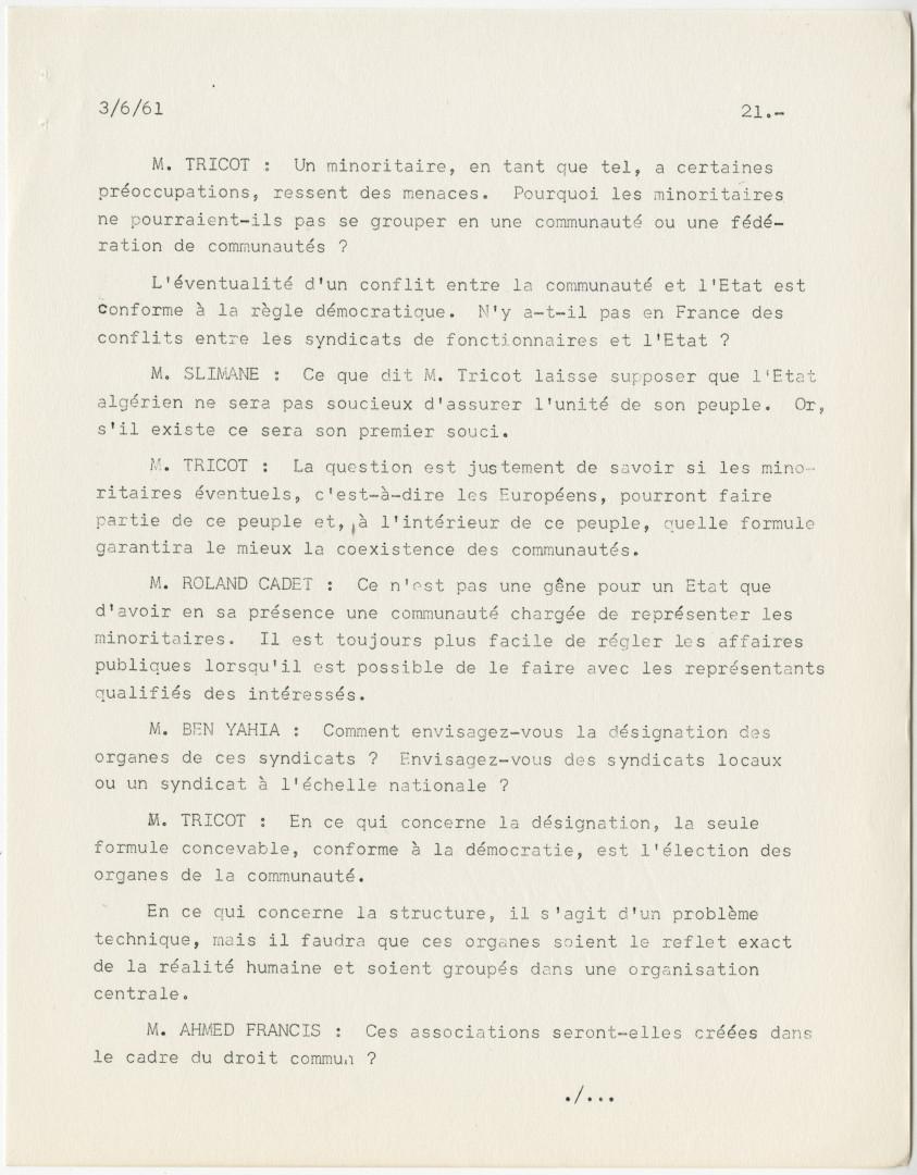 Négociations entre le gouvernement français et le FLN, procès-verbal de la séance tenue à Évian le 3 juin 1961 à 15 heures.