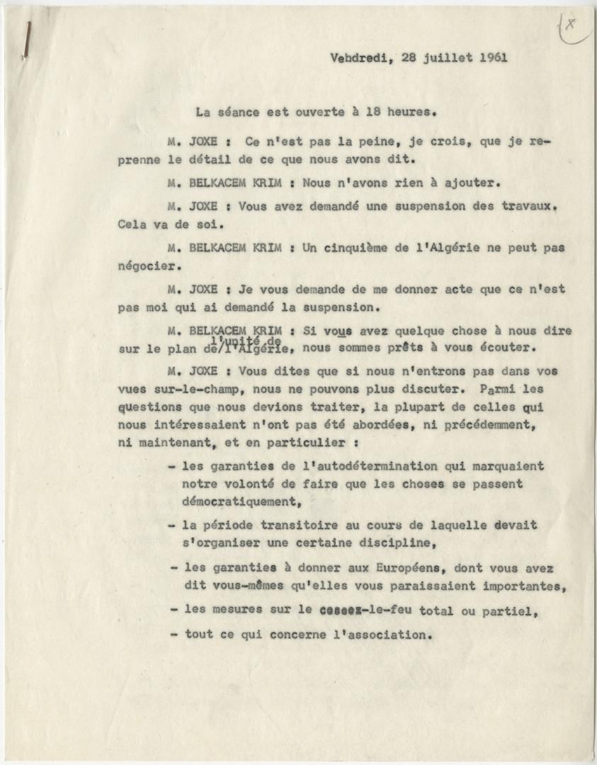 Procès-verbal de la séance tenue à Lugrin, le 28 juillet 1961