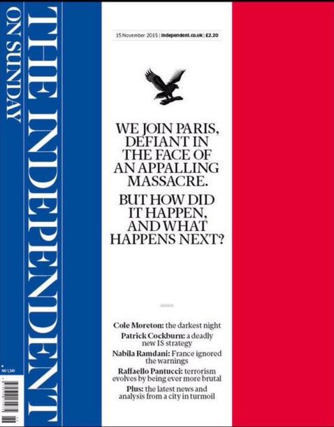 The Independant affiche les couleurs françaises en Une