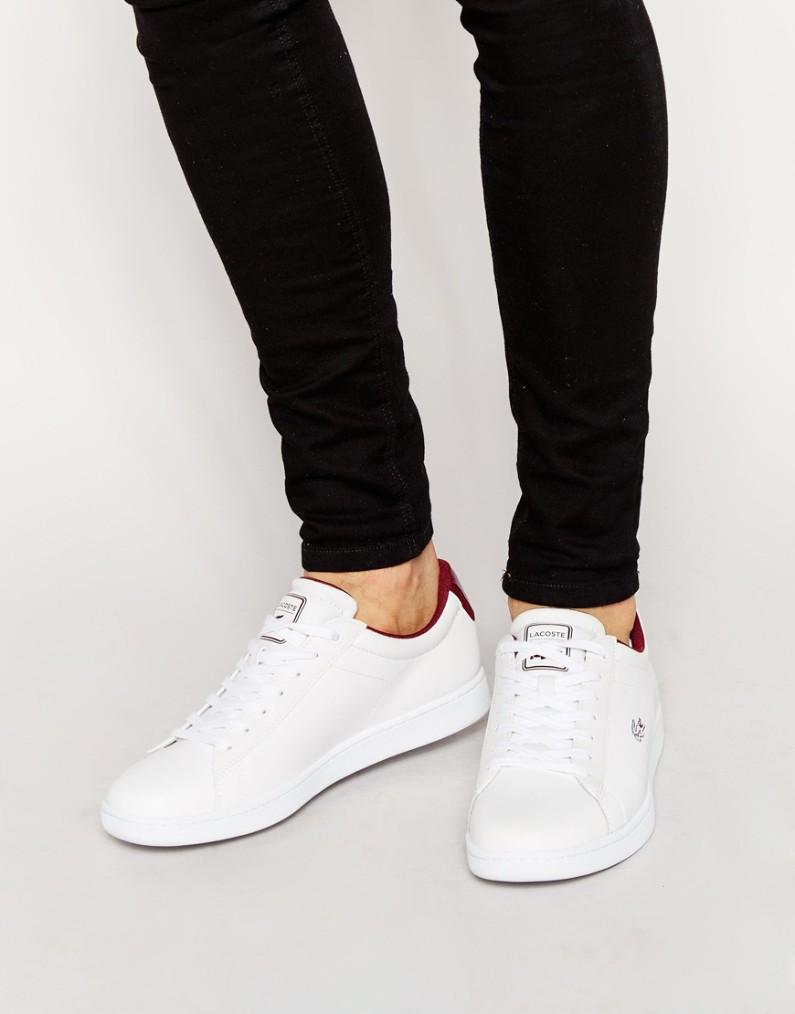 Lacoste - Sneakers Carnaby EVO intérieur bordeaux, 96,99 euros sur ASOS
