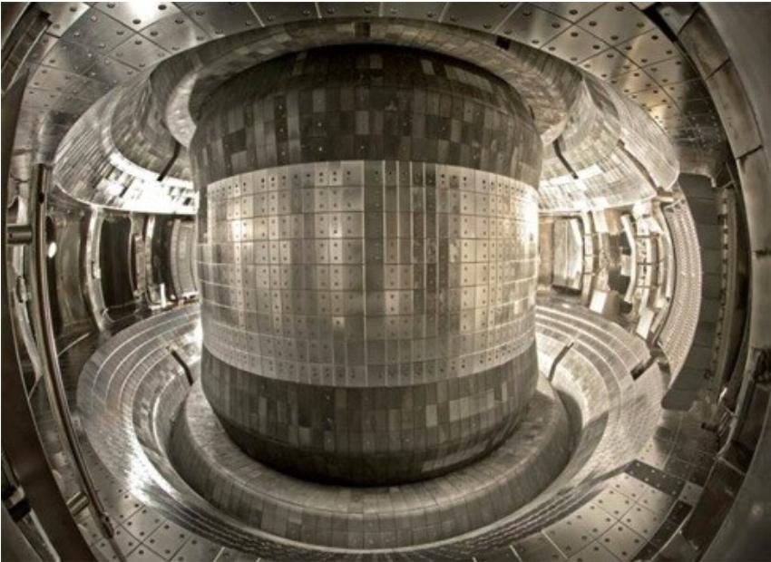 À l'intérieur du réacteur nucléaire, les parois métalliques ne peuvent pas entrer en contact direct avec le plasma, sinon celui-ci fond ou s'évapore immédiatement