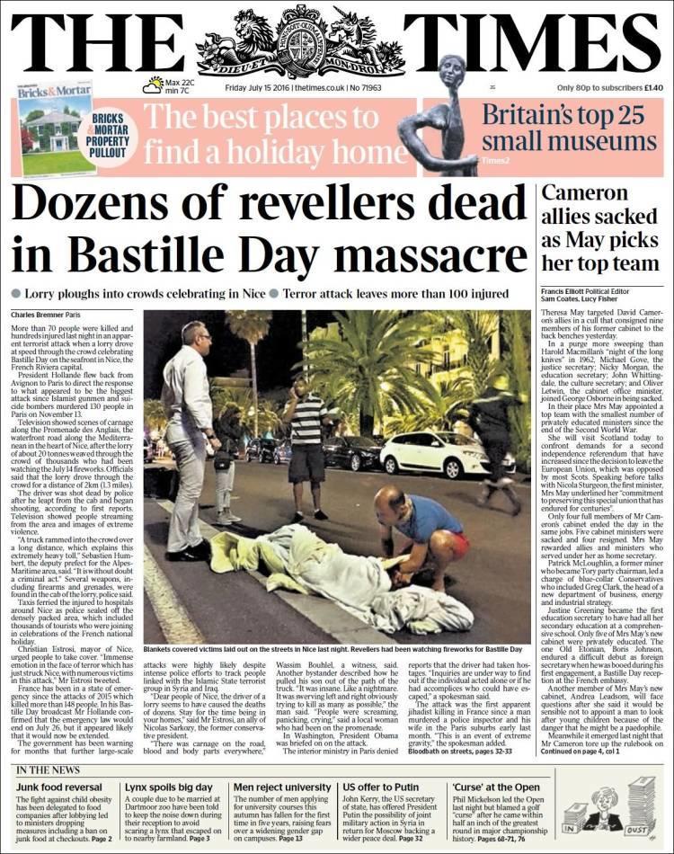 """""""Des dizaines de morts lors du massacre de la fête nationale"""", titre le """"Times"""" à Londres"""