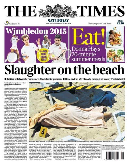 """""""Massacre sur la plage"""", titre """"The Times"""""""