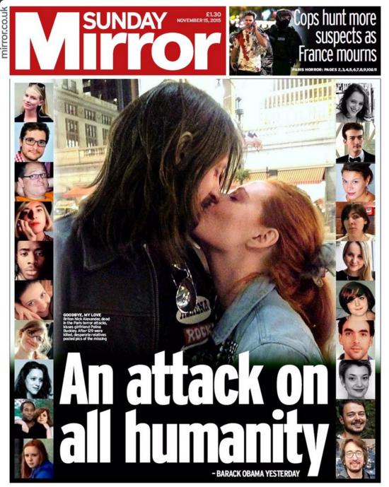 """Le Sunday Mirror parle d'une """"attaque contre l'humanité"""""""